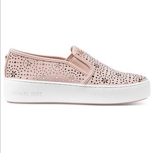 NIB Michael Koran Trent Soft Pink Leather Slip-On